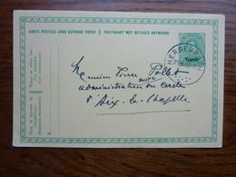 1920 Carte Postale  Entier Postal 5c  EUPEN  Cachet  HERGENRATH Et Postes Militaires  Au Recto   PERFECT - Cartoline [1909-34]