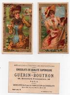 CHROMO Dorée Chocolat Guérin-Boutron Champenois La Peinture Les Bulles De Savon Fille Chapeau (2 Chromos) - Guérin-Boutron