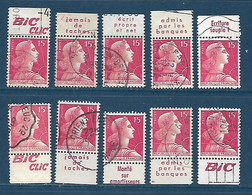 """15 F Marianne De Muller : Dix Timbres Avec Bandes Publicitaires """"Bic"""" Oblitérés - 1955- Marianne Of Muller"""