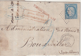 """FRANCE : GC 2342 . """" MEXIMIEUX """" . (01) . N° 60 . 1873 . AFFRt INSUFFISANT TAXEE . A BOUXWILLER ( ALSACE ) . - 1849-1876: Période Classique"""