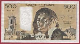 "France 500 Francs ""Pascal"" Du 05/12/1974.B--ALPH.O.45- -- .dans L 'état (P.57) - 500 F 1968-1993 ''Pascal''"