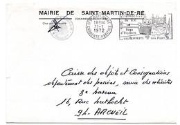 CHARENTE Mme - Dépt N° 17 = St MARTIN De RE 1972 = FLAMME SECAP  Illustrée ' REMPARTS + PORT ' FRANCHISE MAIRIE - Oblitérations Mécaniques (flammes)