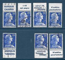 """20 F Marianne De Muller : Sept Timbres Avec Bandes Publicitaires """"Gueules Cassées"""" Oblitérés - 1955- Marianne Of Muller"""