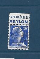 """20 F Marianne De Muller  Avec Bande Publicitaire """"imperméables Akylon"""" Oblitéré - 1955- Marianne Of Muller"""