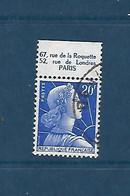 """20 F Marianne De Muller  Avec Bande Publicitaire """"Comptoir Moderne électricité"""" Oblitéré - 1955- Marianne Of Muller"""