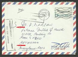 """Cachet """" Affranchissement Insuffisant Par Voie Aérienne """" / Lettre Avion MARSEILLE 04.11.1972 >>> USA - Manual Postmarks"""