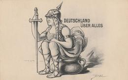 """Guerre 14/19 - Carte Satirique """"Deutschland Über Alles"""" ( Illust. BRAC.) - War 1914-18"""