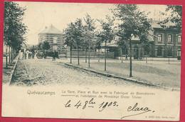 C.P.  Quevaucamps =  GARE, Place Et Rue  Avec  La Fabrique De Bonneteries Et Habitation Mr OSCAR TRIVIER - Beloeil