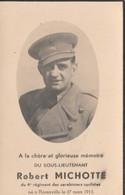 ABL, 4e Régiment De Carabiniers Cyclistes  , Robert Michotte , Sous Lieutenant , Né à Florenville Le 27 Mars 1913 - Overlijden