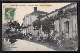 CPA 47 - Cambes, Mairie Et Ecole - Route De Marmande - Autres Communes