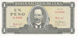 BILLETE DE CUBA DE 1 PESO DEL AÑO 1988 DE JOSE MARTI SIN CIRCULAR (UNCIRCULATED)(BANKNOTE) - Cuba