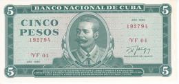 BILLETE DE CUBA DE 5 PESOS DEL AÑO 1990 DE ANTONIO MACEO SIN CIRCULAR (UNCIRCULATED)(BANKNOTE) - Cuba