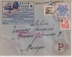 CENSURA MILITAR SANTA CRUZ DE TENERIFE A BURGOS POR AVION AEREO   Guerra Civil Española ESPAÑA - 1931-50 Briefe U. Dokumente