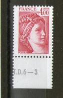 Variété  N°2122a**_sans Phospho_bord De Feuille_N° De Presse TD6-3_gomme Semi-mat - 1977-81 Sabine Van Gandon