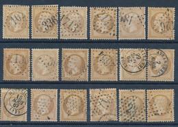 EB-326: FRANCE: Lot Avec N°21 Obl (18) Pour étude - 1862 Napoléon III.
