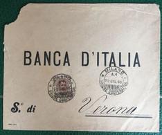 1896 - Regno - Busta Commerciale Affrancata - Banca D'Italia - Da Milano A Verona - 13 - Storia Postale