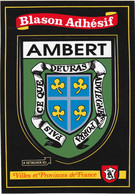 730 - 63 - AMBERT .CARTE ADHESIVE BLASON AMBERT . VILLES ET PROVINCES DE FRANCE .SCAN RECTO VERSO - Ambert