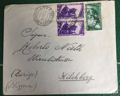 1932 - Regno - Busta  Affrancata - Da Montella  Per Zurigo - Bolli Marcia Su Roma - 15 - Storia Postale