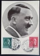 """Deutsches Reich 1938, Postkarte """"Der Führer Adolf Hitler"""" NÜRNBERG Sonderstempel - Michel 664 + 672 - Storia Postale"""