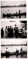 3 Photos Originales En Famille Sur Un Pont De Navire Paquebot Et Promenade En Barque Sous Le III Reich & Drapeaux Nazis - Bateaux