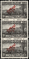 Luxembourg, Luxemburg 1922 Vue Ville De Luxembourg Bande 3x 10Fr. OFFICIEL Neuf MH*Mi:128A Val.cat.108€ - Unused Stamps