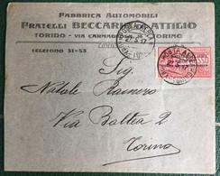 1917 - Regno - Busta Affrancata Commerciale - Posta Aerea Da Roma Per Torino - Fabbrica Automobili Beccaria - 21 - Storia Postale