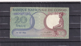 Congo  Kongo 20 Fr  1962  See Scan - Andere - Afrika