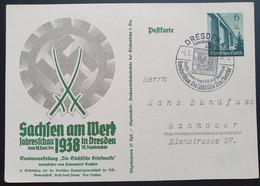 """Deutsches Reich 1938, Postkarte P270 """"Sachsen"""" DRESDEN Sonderstempel - Covers & Documents"""