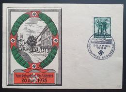 """Deutsches Reich 1938, Gedenkblatt """"Geburtstag Des Führers"""" WIEN Sonderstempel - Storia Postale"""