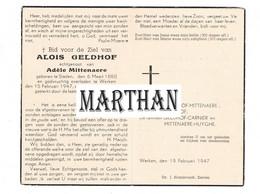 DOODSPRENTJE GELDHOF ALOIS ECHTGENOOT MITTENAERE STADEN WERKEN 1880 - 1947 - Devotion Images