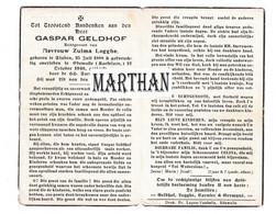 DOODSPRENTJE GELDHOF GASPAR ECHTGENOOT LOGGHE STADEN EDEWALLE-ROESELARE 1888 - 1949 - Devotion Images