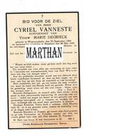 DOODSPRENTJE VANNESTE CYRIEL ECHTGENOOT DEGRIECK WESTROZEBEKE ROESELARE 1884 - 1939 - Devotion Images