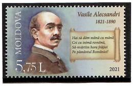 Moldova 2021 . Writer Vasile Alecsandri. 1v: 5.75 - Moldavie