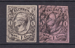 Sachsen - 1855/63 - Michel Nr. 9 A/b GN - Gestempelt - 30 Euro - Saxe