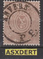 N° 25A   Anvers P.P. Centre Muet Pour Imprimé / Stomcentrum Voor Drukwerk. - 1866-1867 Coat Of Arms