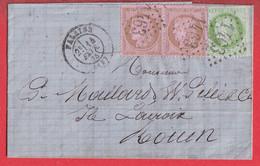 N°58 PAIRE + N°53 GC 1463 FALAISE CALVADOS POUR ROUEN - 1849-1876: Klassik
