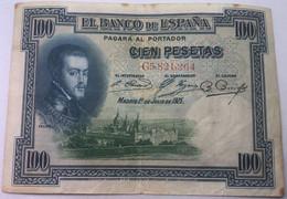 Billete 1925. 100 Pesetas. Rey Alfonso XIII. Rey Felipe II. La Silla, El Escorial. Madrid, España. MBC - 100 Pesetas
