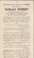 ABL , Fernand Hanquet , Né à Bruges Le 12 Octobre 1914 Pour La Patrie à Alost 18 Mai 1940 , 1er Lanciers - Overlijden