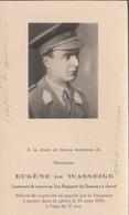 ABL , Eugéne De Wasseige , Mort Le 23 Août 1943  2e Chasseurs à Cheval - Overlijden