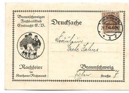Ger473 / DEUTSCHES REICH - FUSSBALL - Braunschweiger Club, Einladung Zur Nachfeier 1914 - Storia Postale