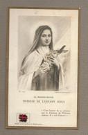 IMAGE PIEUSE RELIQUAIRE.. Etoffe Ayant Touché à SAINTE THERESE De LISIEUX (14) - Images Religieuses