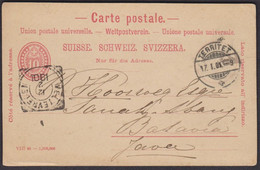 Schweiz - JAVA Indonesien 1901  /  Postkarte / Toller Destinationsbeleg / Territet - Batavia - Stamped Stationery