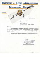 25 - Doubs - MONTBELIARD - Facture HARMONIE DE L'ECOLE D'APPRENTISSAGE DES AUTOS PEUGEOT - 1956 - REF 190B - 1900 – 1949