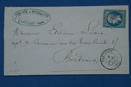 #9 FRANCE BELLE LETTRE 1880 VRECOURT   POUR BORDEAUX  + AFFRANCH. INTERESSANT - 1853-1860 Napoléon III