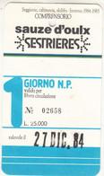 SCI SKI SKIPASS COMPRENSORIO SAUZE D'OULX SESTRIERES 1984 - Toegangskaarten