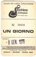 SCI SKI SKIPASS SESTRIERES TUTTIMPIANTI 1978 - Toegangskaarten