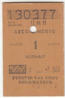 SCI SKI SKIPASS ABBONAMENTO FUNIVIE VAL VENY COURMAYEUR 1977 - Toegangskaarten