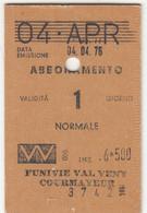 SCI SKI SKIPASS ABBONAMENTO FUNIVIE VAL VENY COURMAYEUR 1976 - Toegangskaarten