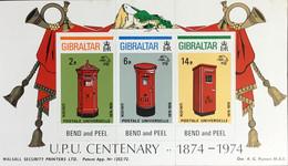 Gibraltar 1974 UPU Pillar Boxes Booklet Pane Set MNH - Gibilterra