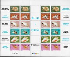 1984  Wallis Et Futuna N° 312 à 317 Nf** MNH. Feuille Entière. Faune Marine. Coquillages. Strombes. - Nuevos